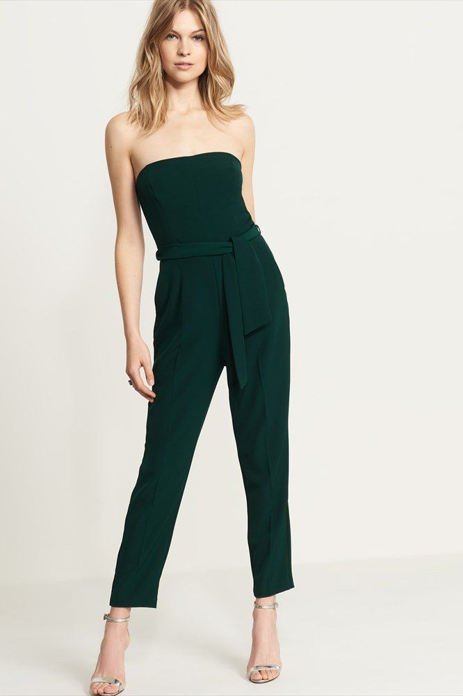 Strapless Belted Jumpsuit.