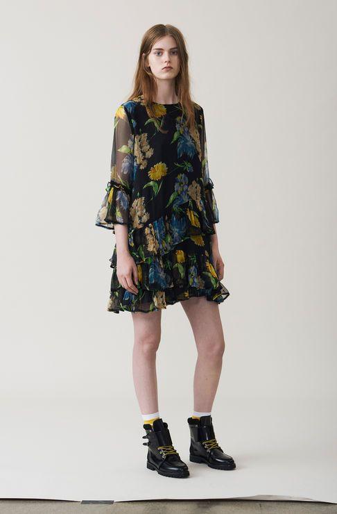 Louvre Chiffon Dress, Black