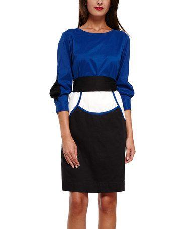 Look at this #zulilyfind! Blue & Black Alicia Dress by Almatrichi #zulilyfinds