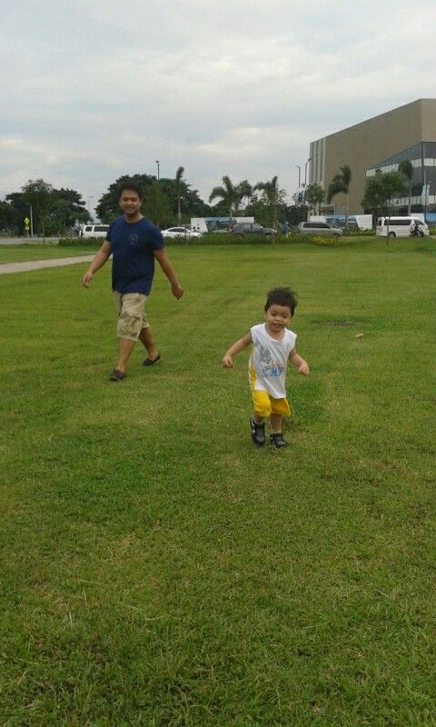 He is happy seeing our child play outdoors.