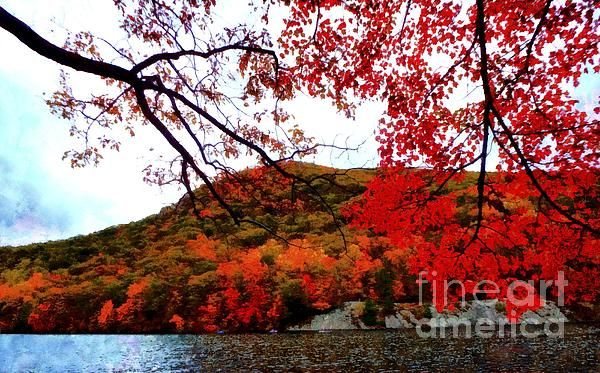 Hessian Lake Bear Mountain in Autumn. The Hudson Valley NY by Janine Riley