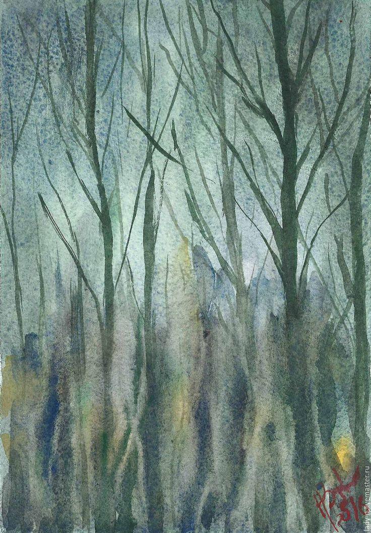 """Купить """"Вечерний пейзаж сквозь стекло"""", картина, акварель, недорого - болотный, синий, желтый, огни"""