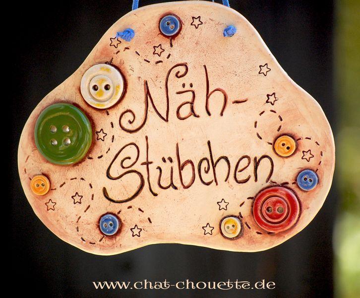 """Türschild fürs Nähzimmer """"Nähstübchen"""" von Chat Chouette auf DaWanda.com"""
