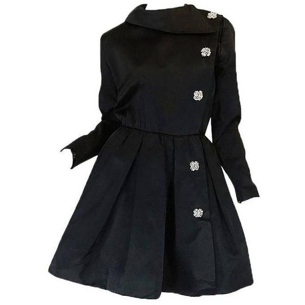 Preowned 1960s Oscar De La Renta Black Silk Satin Cocktail Dress ($975) ❤ liked on Polyvore featuring dresses, black, party dresses, sexy mini skirt, sexy party dresses, sexy dresses and sexy cocktail dresses