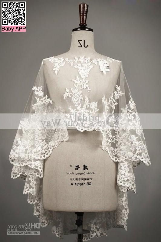 buy wholesale - Wedding Shawl Capes Mantles Capelets Lace Trimmed Edged Boat Neck Wedding Bridal Dresses Accessary