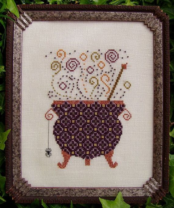 "Chart ""Witch's Brew"" Counted Cross Stitch Design. Halloween, Cauldron, Potion Design.  Decor. X Stitch. DIY."