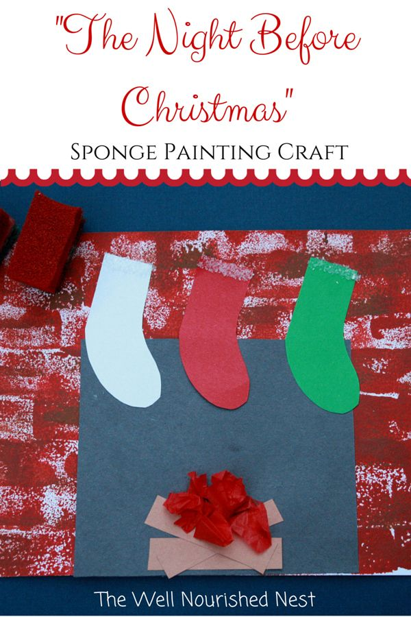 sponge painted christmas sock craft easy crafts sponge painting fireplace and 7170