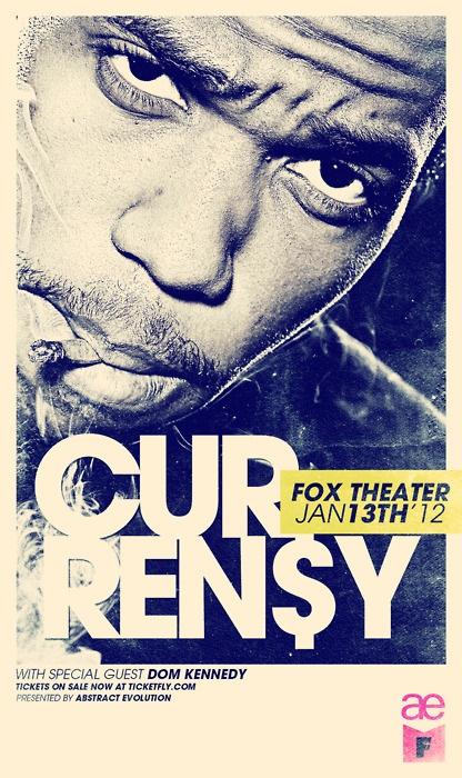 Currensy Concert poster I designed for Abstract Evolution / Fox Theater.