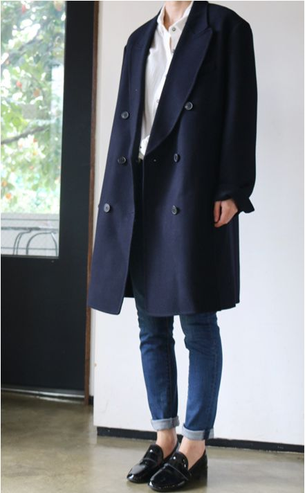Death by Elocution - Korean Style - Long Navy Coat and Black Loafers