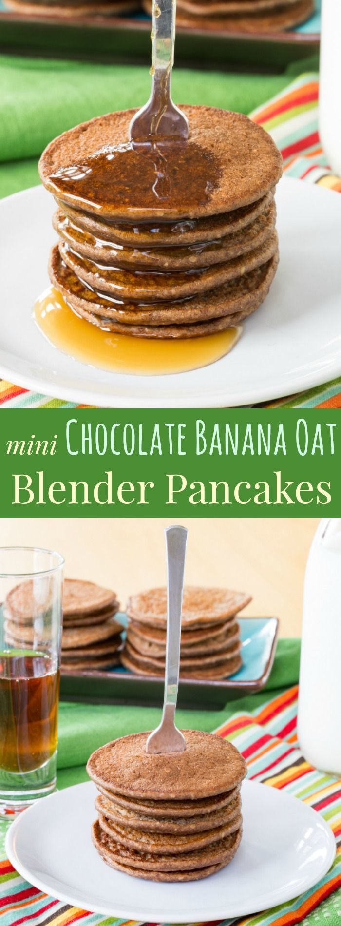 Mini Chocolate Banana Oat Blender Pancakes - an easy pancake recipe that's quick, healthy, and naturally gluten free.