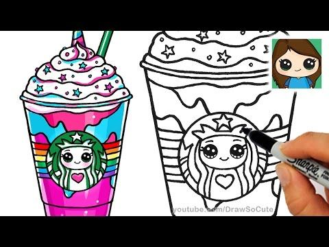 How to Draw a Starbucks Frappuccino Cute step by step Cartoon Drink - YouTube