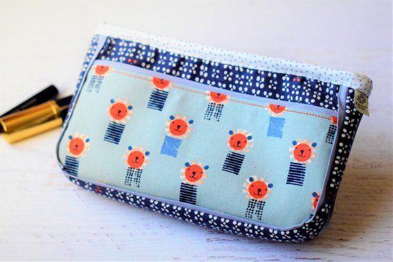 Steel Fabric Zip Pouch Cotton