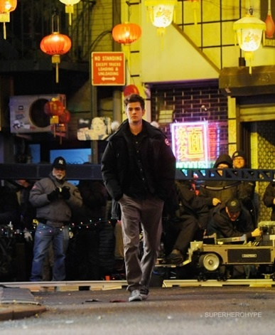 The Amazing Spider-Man 2 in Chinatown Set Photo