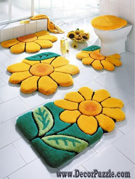 flowers bathroom rug sets bath mats yellow and green bathroom rugs and carpets - Bathroom Carpet