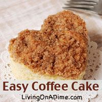 If you want  an easy recipe with a different twist then this easy coffee cake recipe is for you! It is so quick and easy to make and freezes well, which makes it great for overnight or for unexpected company and only costs $1.50 to make. Click here to get this yummy coffee cake #recipe http://www.livingonadime.com/easy-coffee-cake-recipe/.