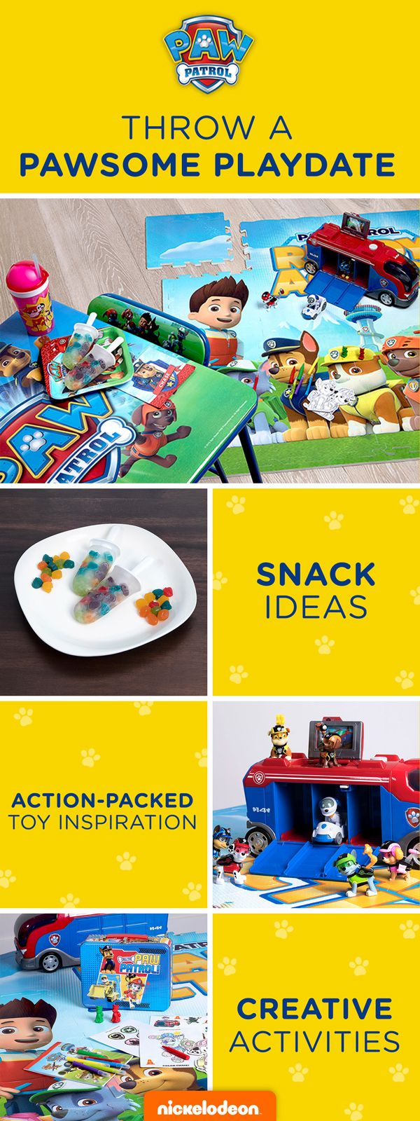 Get ready for your child's next play date with help from the PAW Patrol! Prepping for a preschooler's play date will be a breeze with these fun PAW Patrol activities and easy, healthy snacks, Get PAW Patrol apparel, PAW Patrol  creative toys, and healthy recipe inspiration featuring PAW Patrol gummies! You'll be the coolest parent yet with these PAWsome activities.
