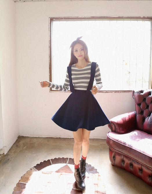 All Korean Fashion items up to 70%OFF! #alinecottonskirt #skirt #skirtwithsuspenders