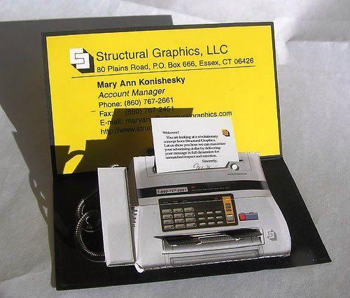 Desain Kartu Nama Unik tidak Biasa | structural graphic fax like business card