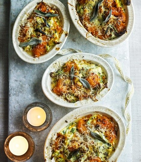 Delicious Magazine . Baked butternut squash ricotta and spinach . { lovely dinner recipe . great vegetarian dish . perfect Autumn food } .