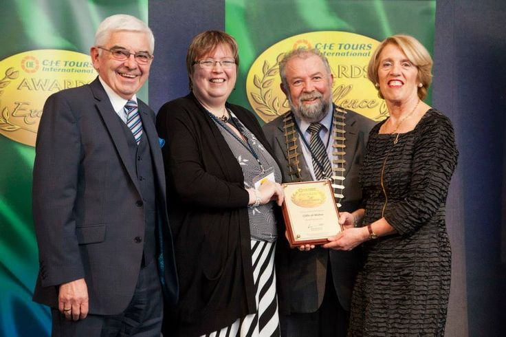 2014 Awards: Gold Award for 'Heritage Award' at the 2014 CIE Tours Awards of Excellence awarded to Cliffs of Moher, Co. Clare. Award presented by Ms. Vivienne Jupp, Chairman of CIE Group and Peter Malone, CIE Group. Photo: John Ohle. #cieawards — at Dublin Castle.