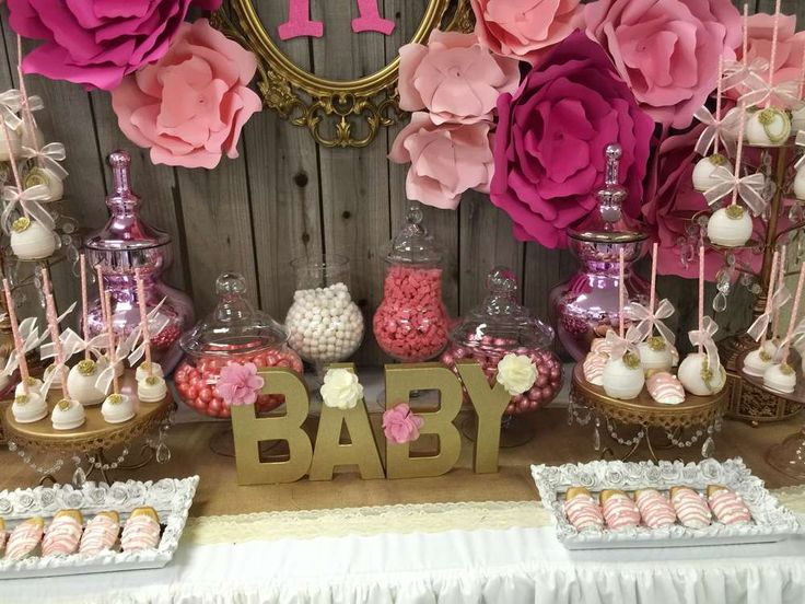 Lovely pink and gold baby shower party! See more party planning ideas at CatchMyParty.com!