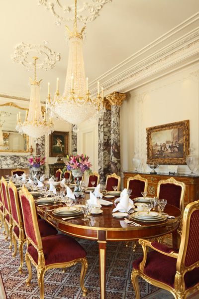 Savonnerie carpet in dining area of Palais des Anges, a 35,000 sq ft Beaux Arts mansion in Beverly Hills.
