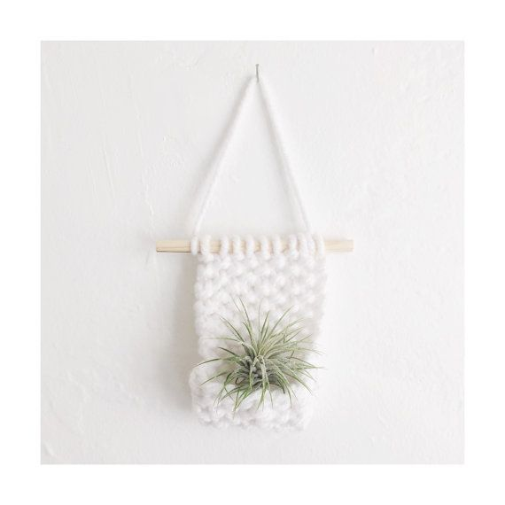 Knitted Wall Hanging with Airplant Bohemian  by TheBurgundyBow