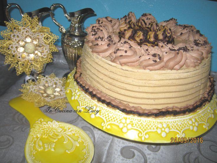 Torta al cioccolato con glassa al caffè. In occasione per i 25 anni di matrimonio,(nozze d'argento)Venticinque anni insieme sono un bel traguardo!