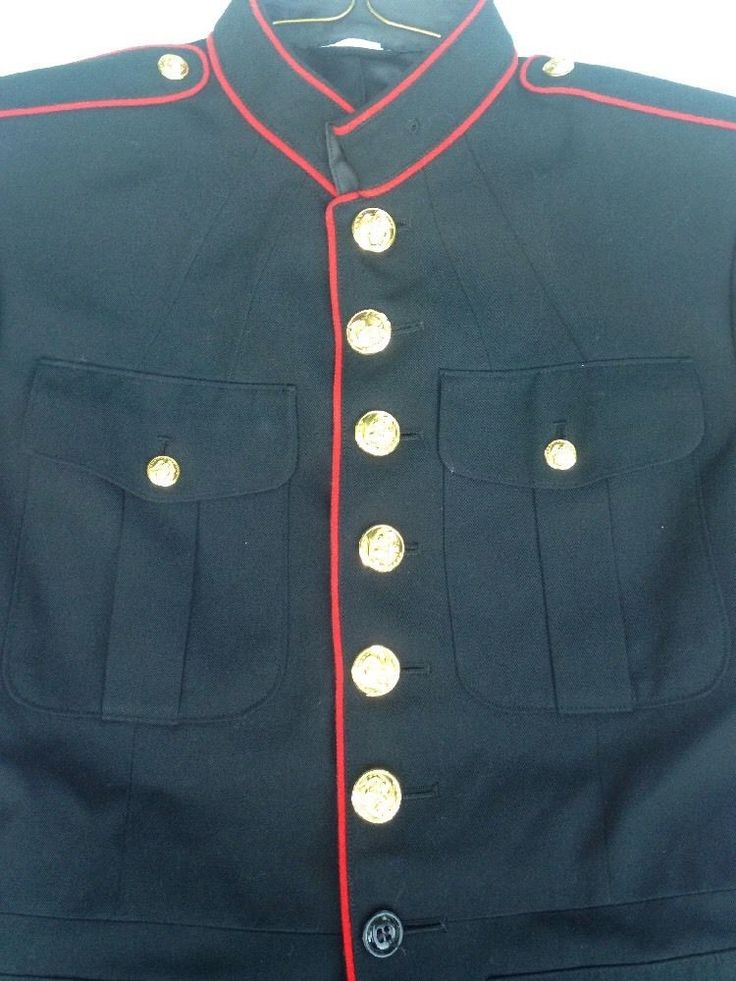 US Military Marine Service Uniform Jacket Blues 441 Gold Buttons Red Line DSCP #CrownClothingCompany