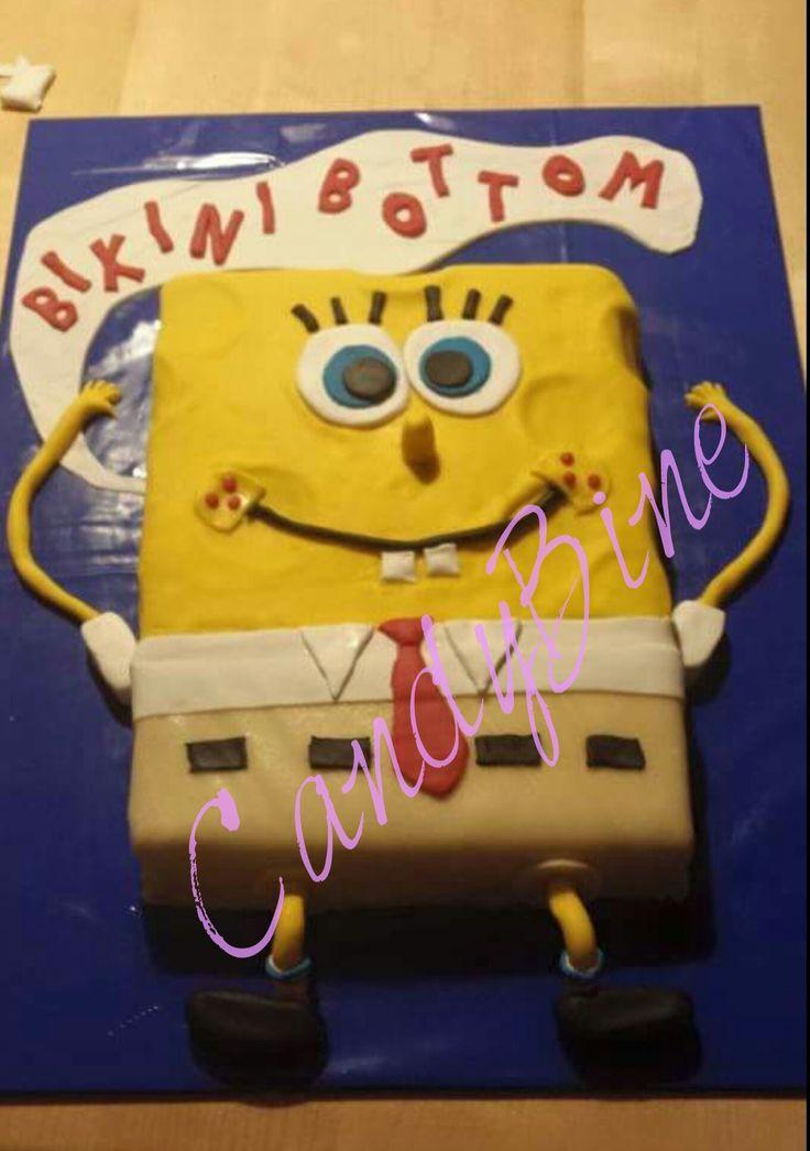#Spongebob war meine 1. #Motivtorte.   Innen befindet sich ein Schokolinchenkuchen gefüllt mit Ganache