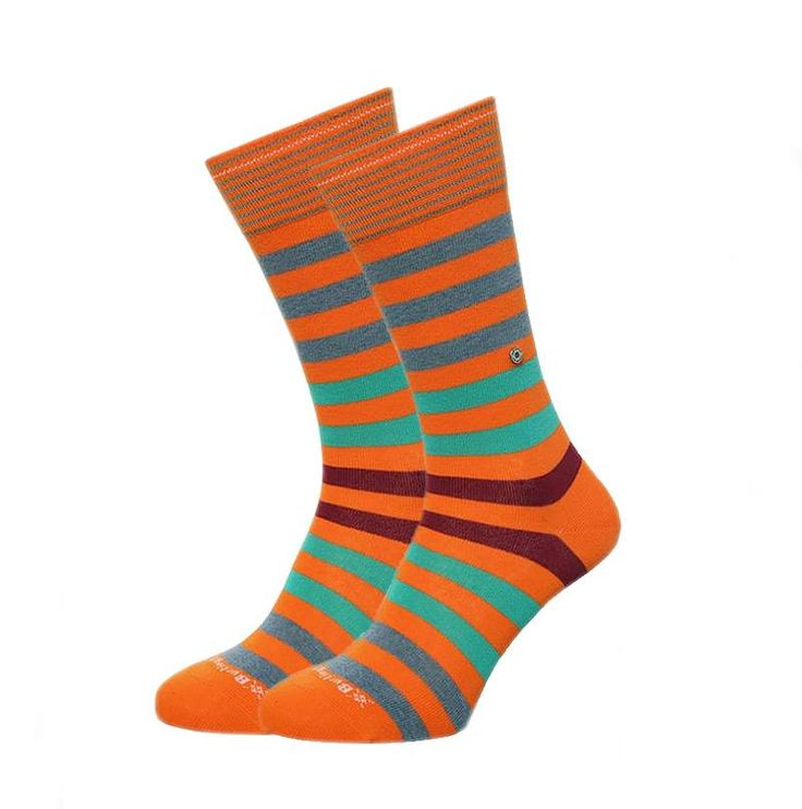 DESCUBRE las ultimas tendencias en calcetines para hombre. Burlington Blackpool a rayas multicolores e informales. Modelo en naranja. + modelos en varelaintimo.com