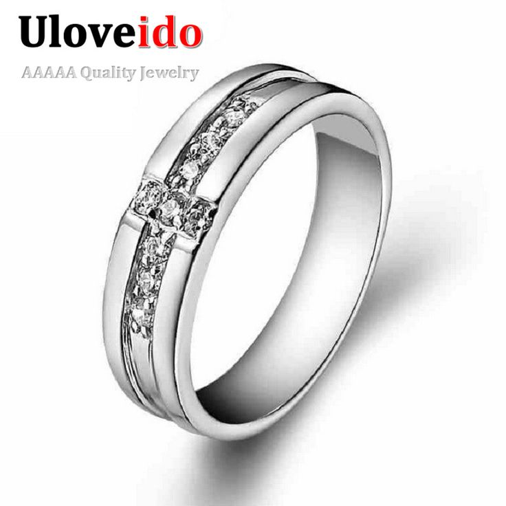 Unique Men us Wedding Ring Anillos Cubic Zircon Rings for Men Silver Color Jewelry White Anel Masculine Bague Bijoux