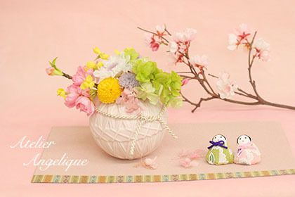 Japanese Hinamatsuri Preserved flower by Atelier Angelique ひな祭り プリザーブドフラワー アトリエ アンジェリク 成城