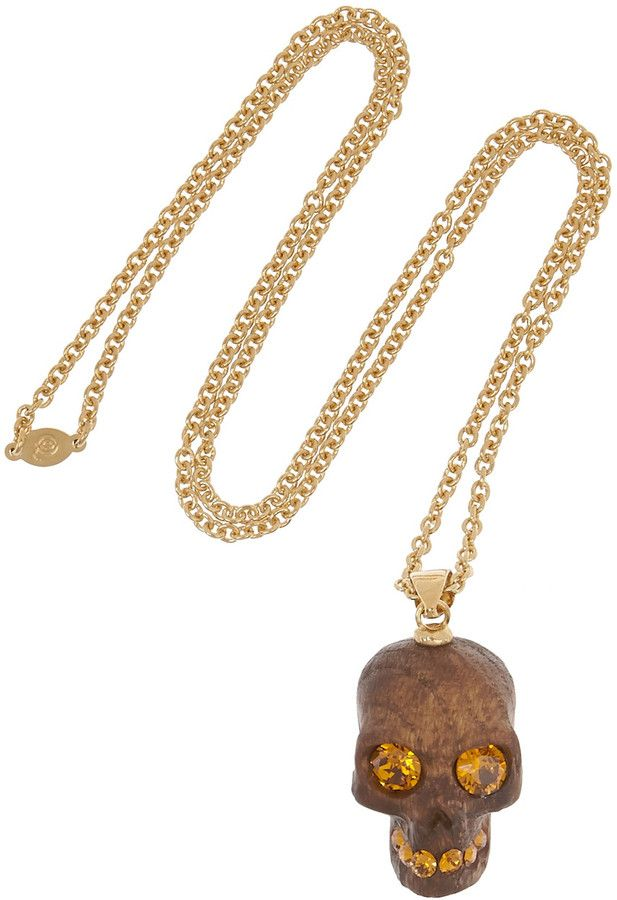 Alexander McQueen Gold-plated, Swarovski crystal and oak skull necklace