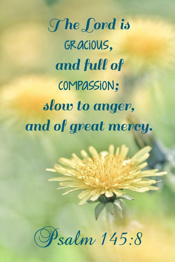 The Lord is gracious, & full of compassion; slow to anger, & of great mercy. Psalm 145:8