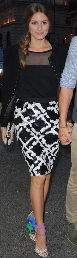 Olivia Palermo's black jacket, white print sequin skirt, and tie shoes?