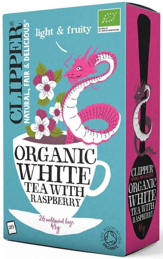 Organic white tea with raspberry Clipper.
