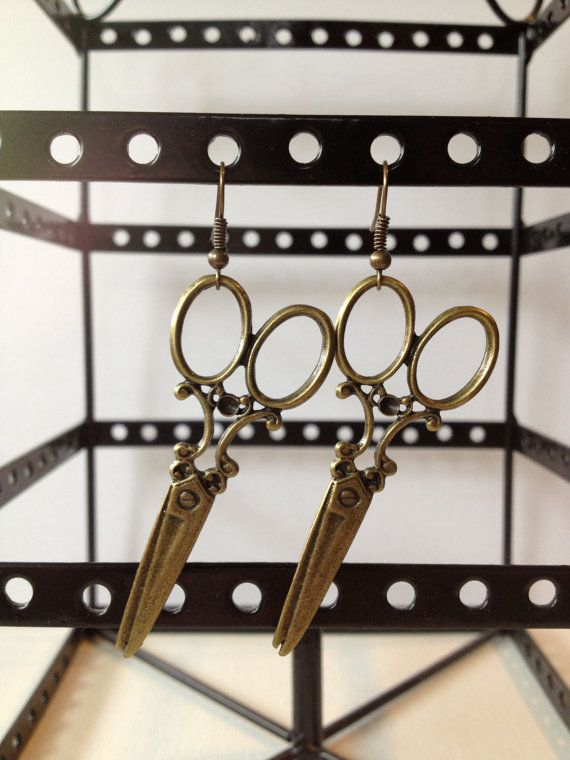 Brass Scissor Dangle Earrings