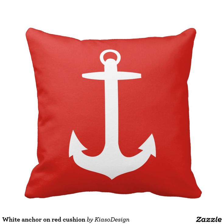 White anchor on red cushion throw pillows