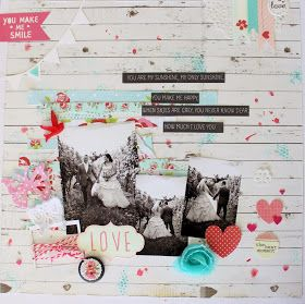 Kaisercraft sketch wedding scrapbook page layout wood grain