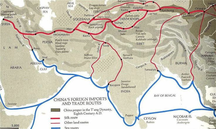 China's IMPORTS, TRADE ROUTES and LOCATION of GOODS in Asia, Central Asia and beyond; ex. Rubies from Ceylon, Lapsi Lazuli near Sogdiana and Tashkent, Jade from Khotan, Amber and peacock feathers form Burma, Gold, Silver and Ivory from Annam; Sandalwood, jasmine, spinach and drugs (opium?) from India. Persia: peach trees, tapestry, date palms; Glassware and Woven goods from Antioch.