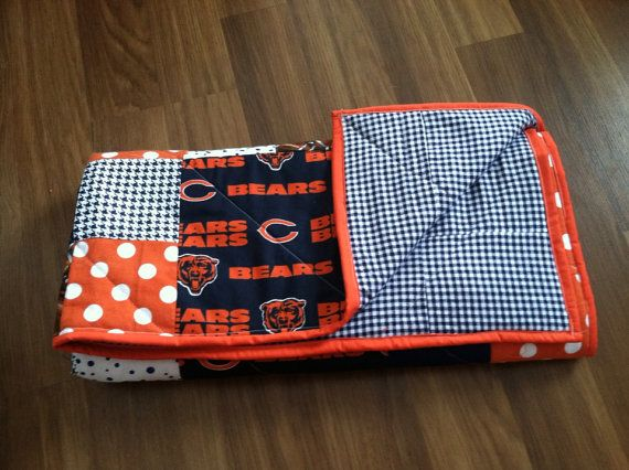 Chicago bears quilt. Baby toddler lap quilt by TickledPinkQuilts, $75.00