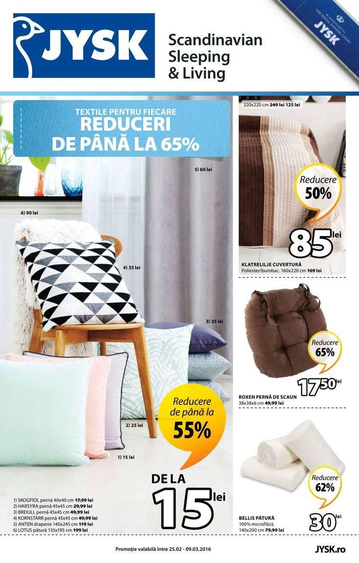Catalog JYSK oferta din perioada 25 Februarie - 9 Martie 2016!Oferte si recomandari: Roxen perna de scaun 17.50 lei; Bellis patura 30 lei.