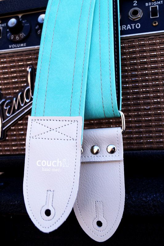Mint and Linen Guitar Strap With White Ends by couchguitarstraps, $44.00