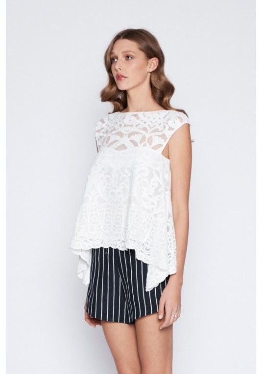 Once Was - Harlequin Embroided Lace Top In White