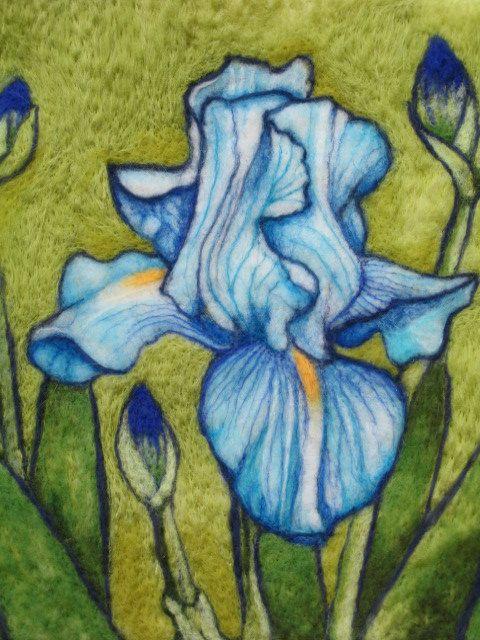 Needle Felted Wool Painting Blue Iris Evening Iris Flowers