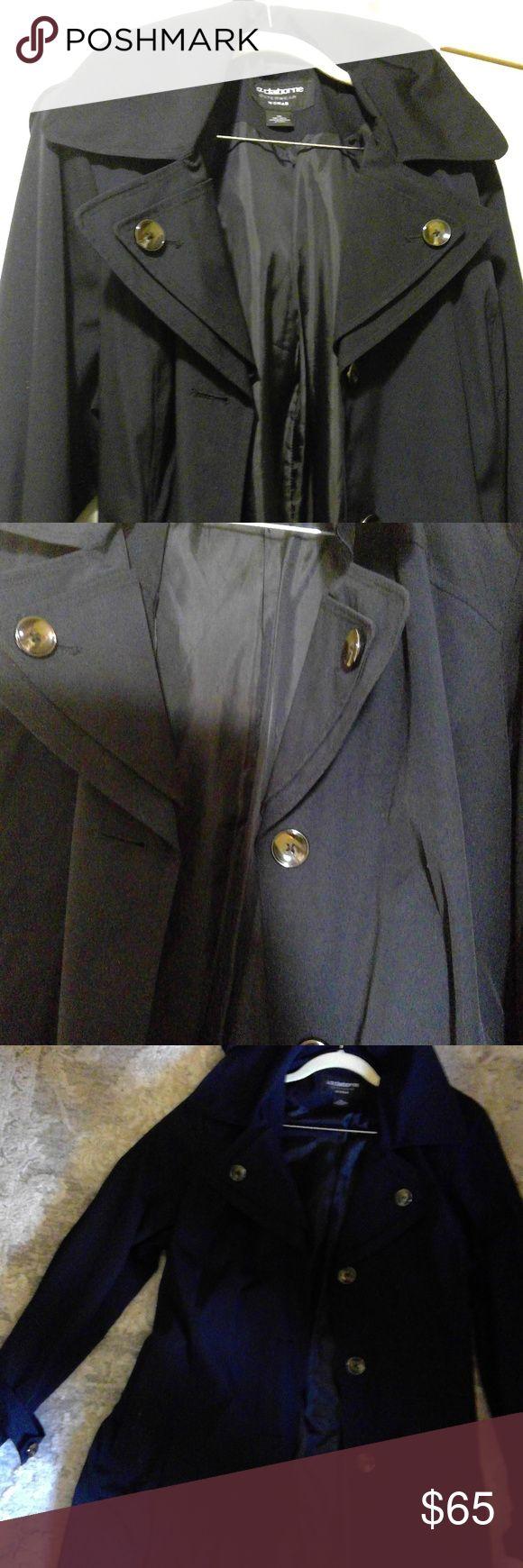 Liz Claiborne Outerwear Women Trench Coat Trench Coats Women Outerwear Women Black Outerwear [ 1740 x 580 Pixel ]