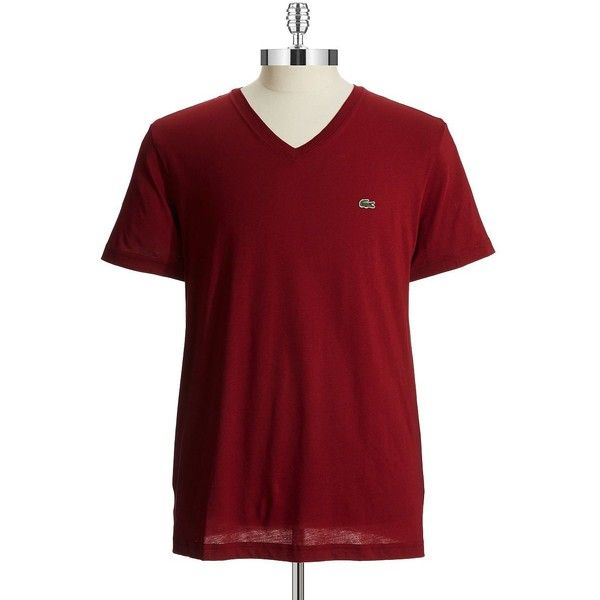 Lacoste Cotton V-Neck T-Shirt ($50) ❤ liked on Polyvore featuring men's fashion, men's clothing, men's shirts, men's t-shirts, wine red, mens v neck shirts, mens cotton short sleeve shirts, mens short sleeve t shirts, mens cotton t shirts and mens short sleeve shirts