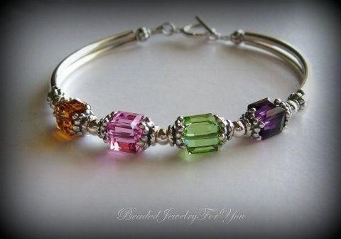 Mother's Birthstone Bracelet - Swarovksi Crystal Cube Bangle Bracelet. $32.99, via Etsy.