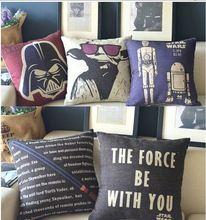 Os Star Wars Movie Poster 5 modelos lençóis de algodão de aniagem decorativas almofadas almofadas caso para sofá cadeira do sofá(China (Mainland))
